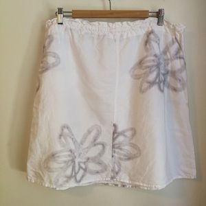 Lole Skirts - Lole white with grey flowers linen skirt